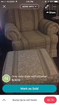 brown floral sofa chair with ottoman screenshot Kitchener, N2M 4Y4