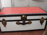 "Vintage .. Storage Steamer or Trunk with Tray & 2 keys painted in Patriotic Red - White and Blue. Measures 31"" x 17"" x 12.5"". This is old and has some normal wear there is a removeable top tray  Bristol, 19007"