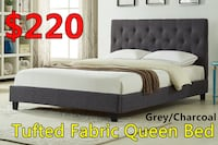 Brand new button tufted fabric bed in charcoal on sale 多伦多, M1V 1E9