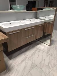 "54"" Double Sink Bathroom Vanity Cabinet Modern Design with Matching Mirror and Top Fairfax"