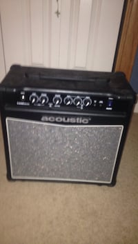 black and gray Acoustic guitar amplifier