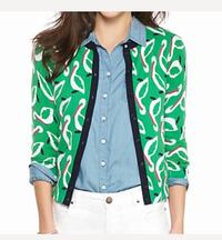 Crown & Ivy Pelican Print Button Down Cardigan Columbia