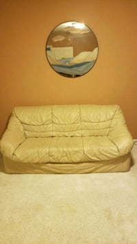 Beige all leather loveseat very good condition.  Norton, 02766