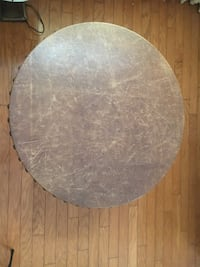 Mission Style Leather Top Round table -$200