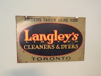 1930's Langley's Cleaners & Dryers Sign (Toronto). ONE OF A KIND! Quinte West, K8V