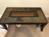 rectangular brown wooden framed glass top coffee table Sterling, 20164