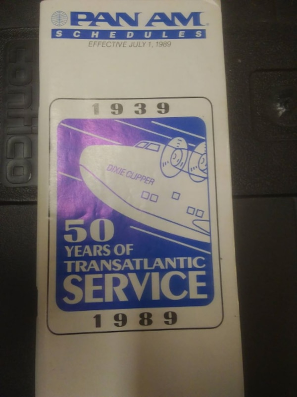 Pan Am system timetable July 1 1989
