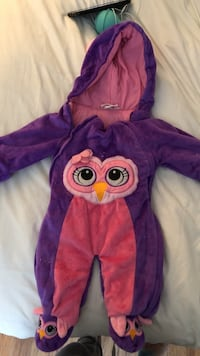 baby's purple and pink owl graphic pram suit