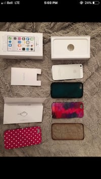 SILVER APPLE IPHONE 5S LOT AND CASES 557 km
