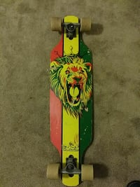 yellow, red, and green lion-printed wheel cutout longboard Anaheim, 92804