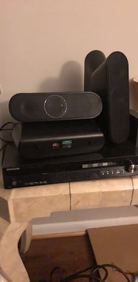 Black SAMSUNG dvd player Bluetooth home theater system with surround speakers  Dumfries, 22026