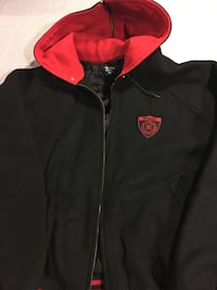 1990 red and black polo badge wool jacket