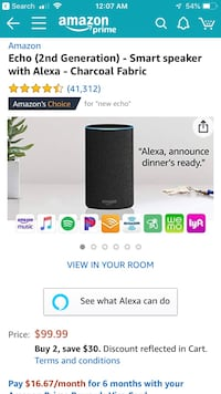 Amazon Echo (2nd Gen) - Smart Speaker with Alexa Vienna, 22180