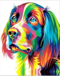 Abstract Colorful Golden Retriever Dog Stretched C Brooklyn