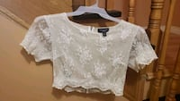 Size Large Revamped by Sirens White Lace Crop Top