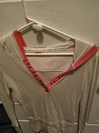 gray and red v-neck sweater