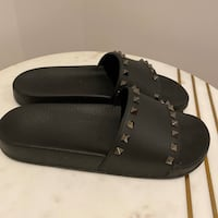 ON HOLD! Valentino Black Rockstud Pool Slides