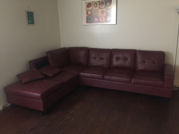 Dark Burgundy Sectional normal wear and tear don't need it anymore 5655be8b-3158-48fd-809a-812f4c10d487