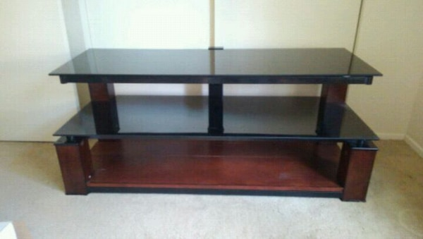 brown wooden 3-layer TV stand