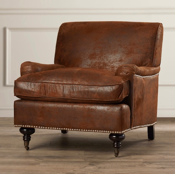 Fine Gorgeous Brown Faux Leather Accent Chair With Nailhead Trim Two Front Legs On Wheels 31 5 X 29 3 X 34 3 Still In Box 225 Inzonedesignstudio Interior Chair Design Inzonedesignstudiocom