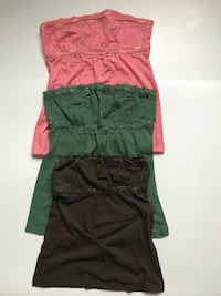 Pink, green and chocolate brown tube top all size M