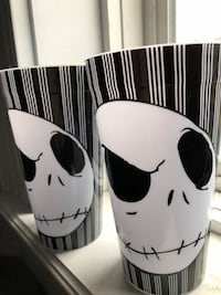 Plastic Jack Skeleton cups x2  *never used* Dartmouth, B3A