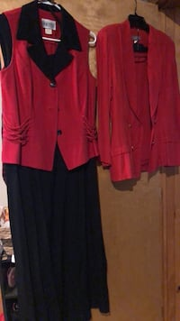Size 16 black dress and red & black cover vest Mansfield, 44905