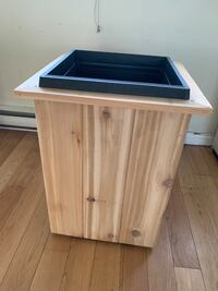 Brown and black wooden side table