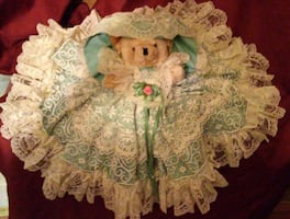 XMAS SALE! Vintage Jointed Teddy Bear with Handmade Lace Dress
