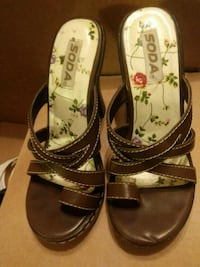 pair of brown leather open-toe sandals Yucaipa