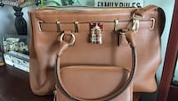 brown leather 2-way handbag with long wallet