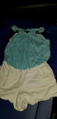 1 piece shorts set, blue and white stripes Morton, 39117