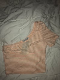 women's white and pink striped crop top Toronto, M8Z 1Y2