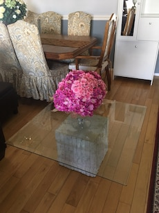 White stone and glass top coffee table