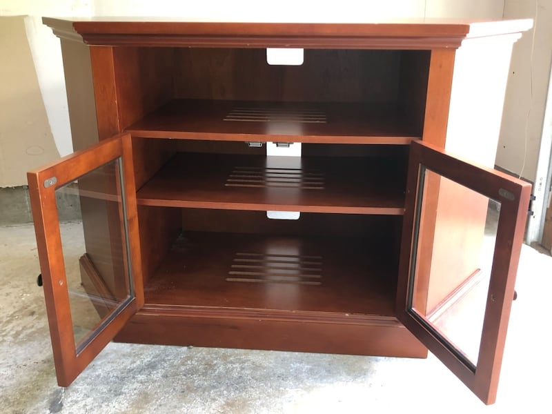 TV console with two shelves and glass doors 6df62b29-52ff-4b20-94d0-a8608e04ac0b