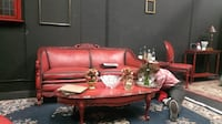 red leather 2-seat sofa and oval red coffee table LOSANGELES