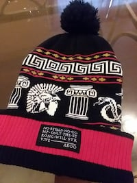 black, white and red cuff knit cap