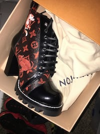 pair of black and red floral high top sneakers Oxon Hill, 20745