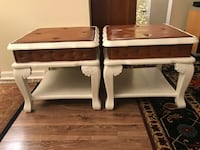 2 Retro leather top side tables  Odenton