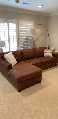 West Elm Brown Leather Sectional Couch