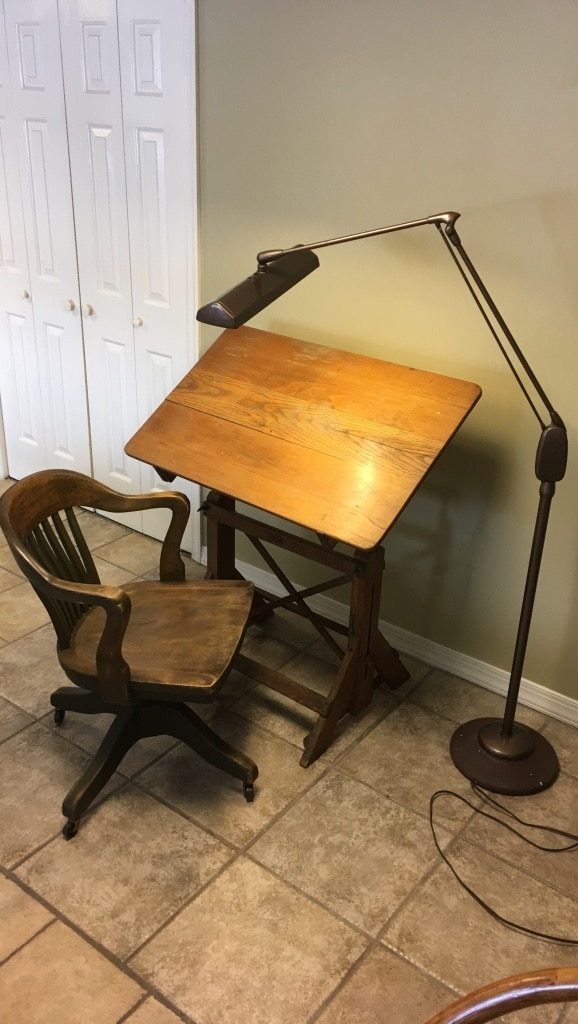 Used Antique Furniture Drafting Table Light And Chair For ...