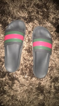 Pair of black-and-green slide sandals Corona, 92883