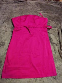 women's pink strapless midi dress