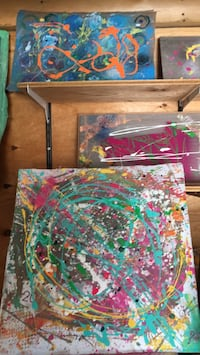 green, red, and blue abstract painting Mount Albert, L0G 1M0