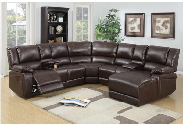 Used 5-pcs New Reclining Sectional Brown Bonded Leather Sofa Set for ...