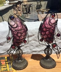 Pair of Metal and Colored Glass Candle Holders - Dimensions in Ad - EDH/Folsom Area El Dorado Hills