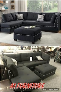 Black Polyfiber Sectional w ottoman