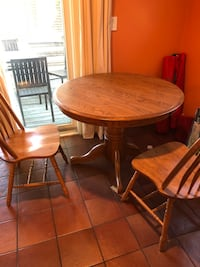 Round brown wooden pedestal table with two chairs dining set Cambridge, 02140