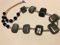 Silver and black beaded necklace. Handmade jewelry  Leeds, 12451