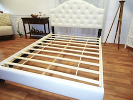 White Queen Bed Frame NEW Tufted headboard